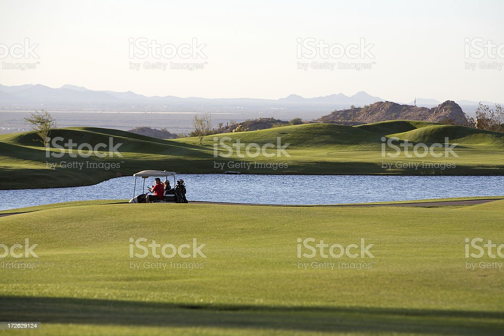 lake on the course stock photo