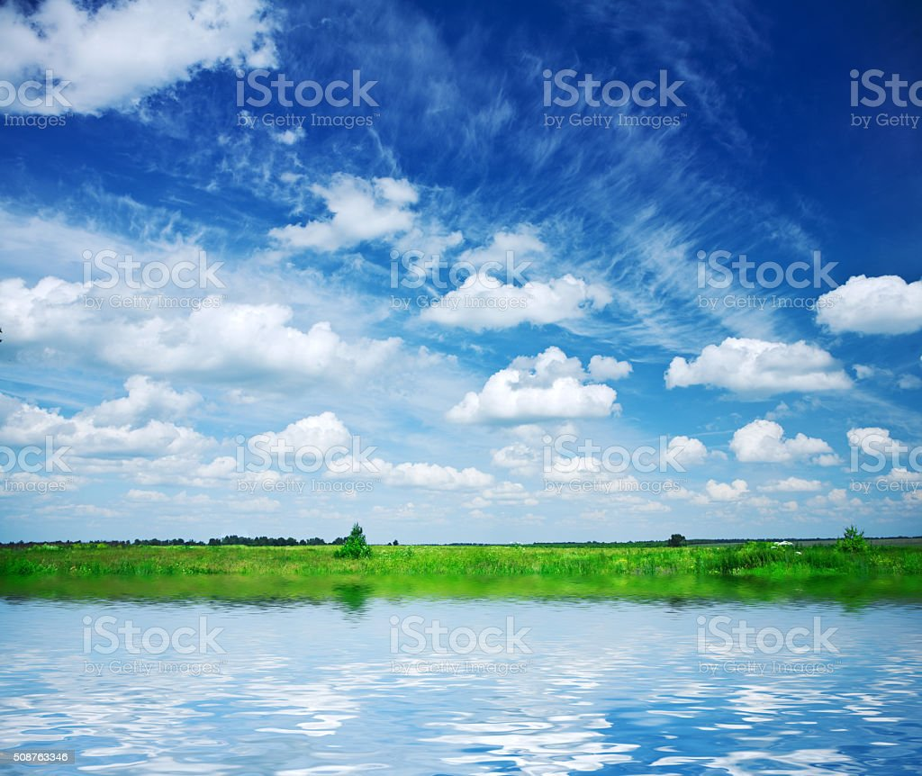 lake on the field stock photo