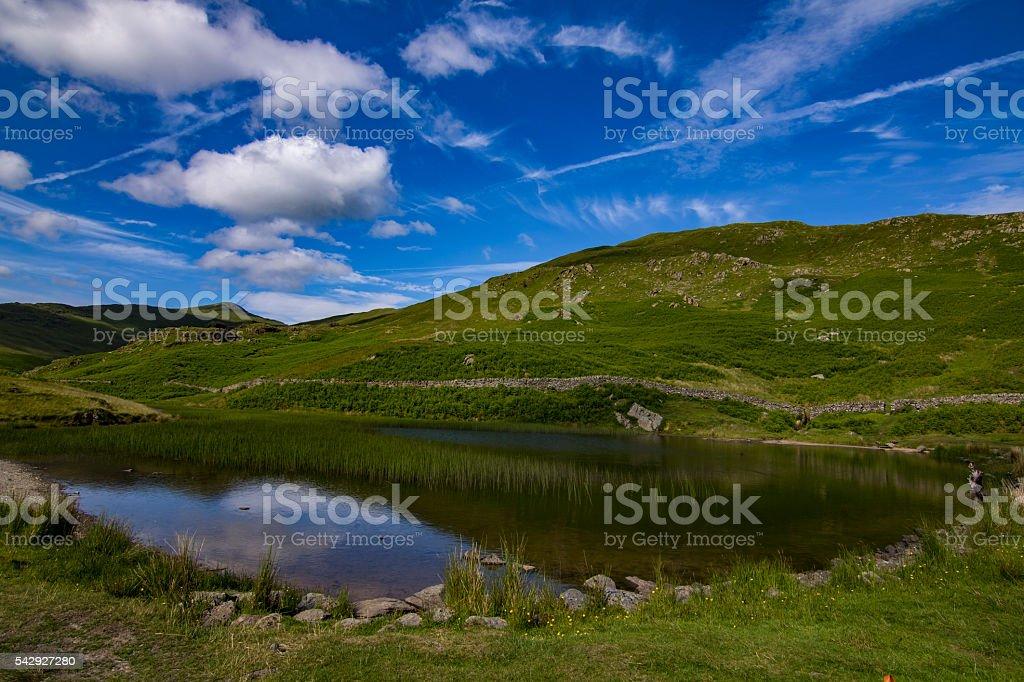 Lake on the top of Alcock Tarn stock photo