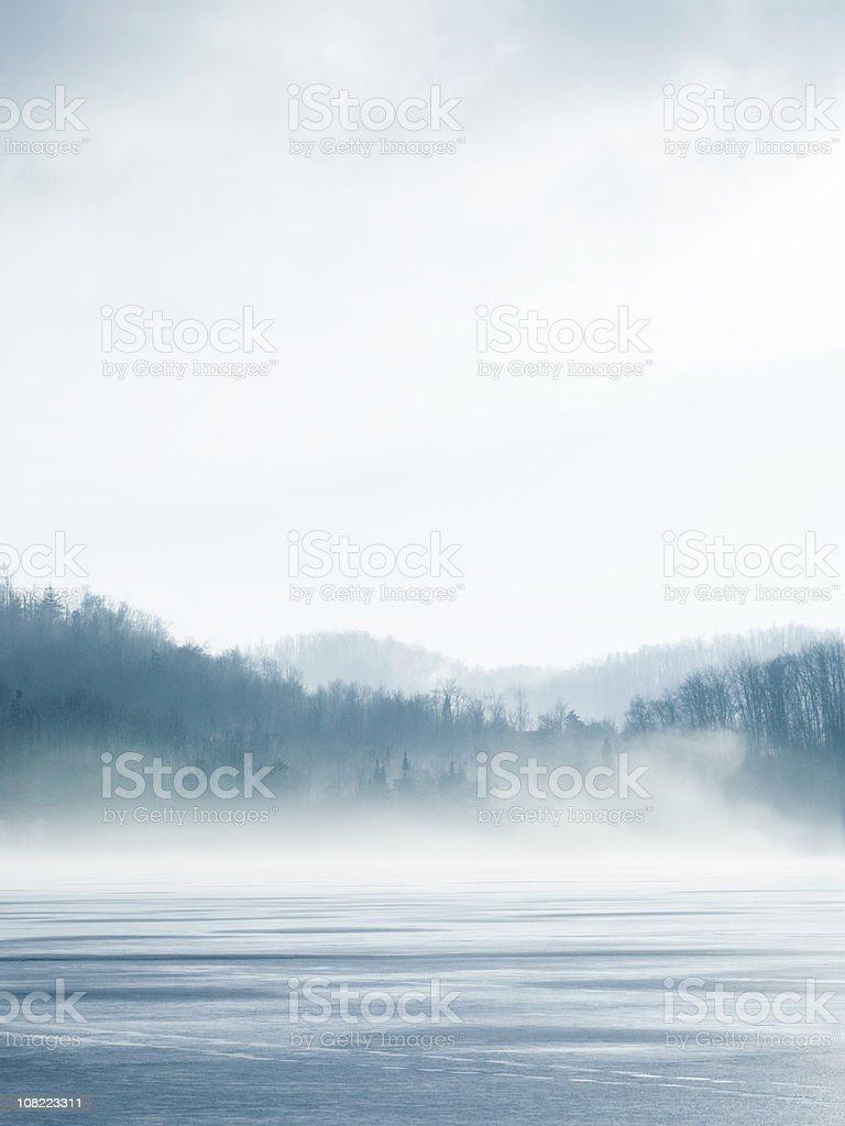 Lake On Winter stock photo