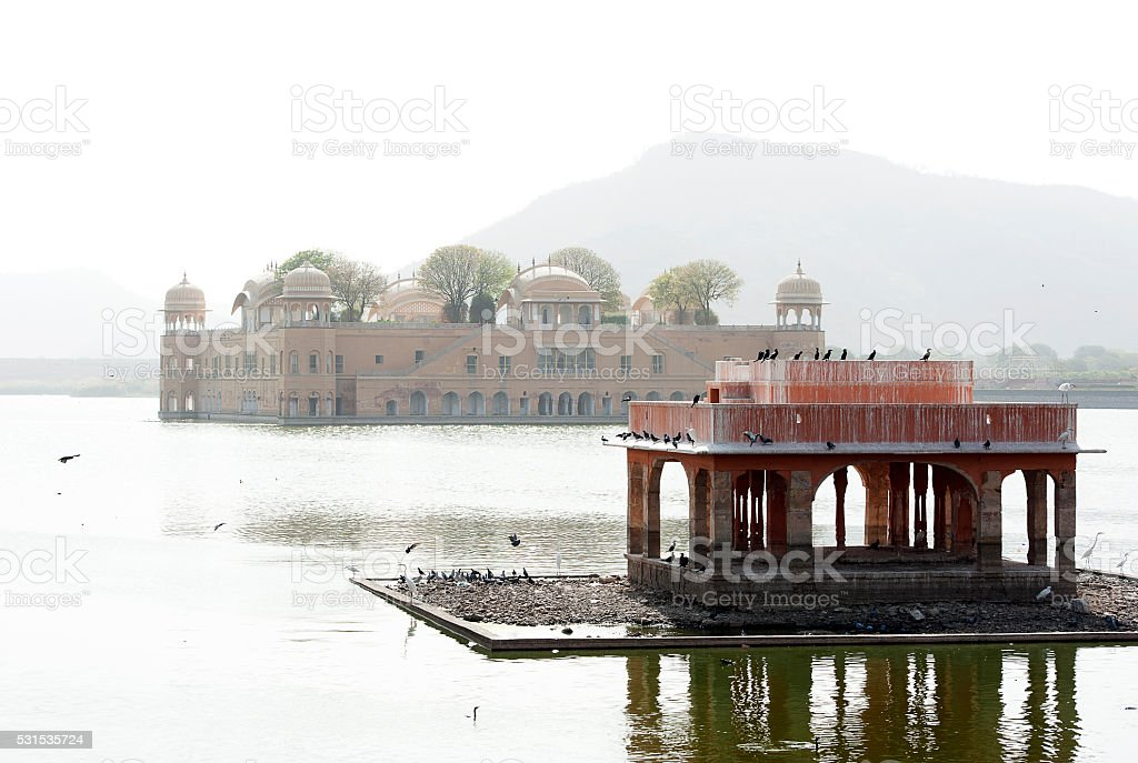 Lake Palace mist, Jaipur, Rajasthan, India stock photo