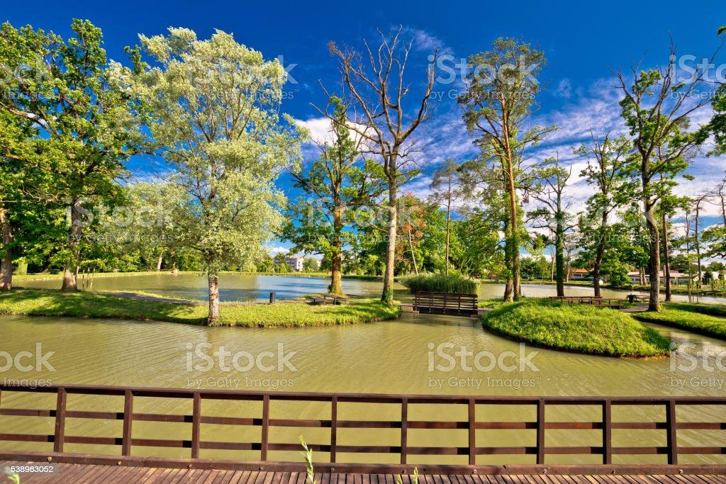 Lake park in town of Jastrebarsko stock photo