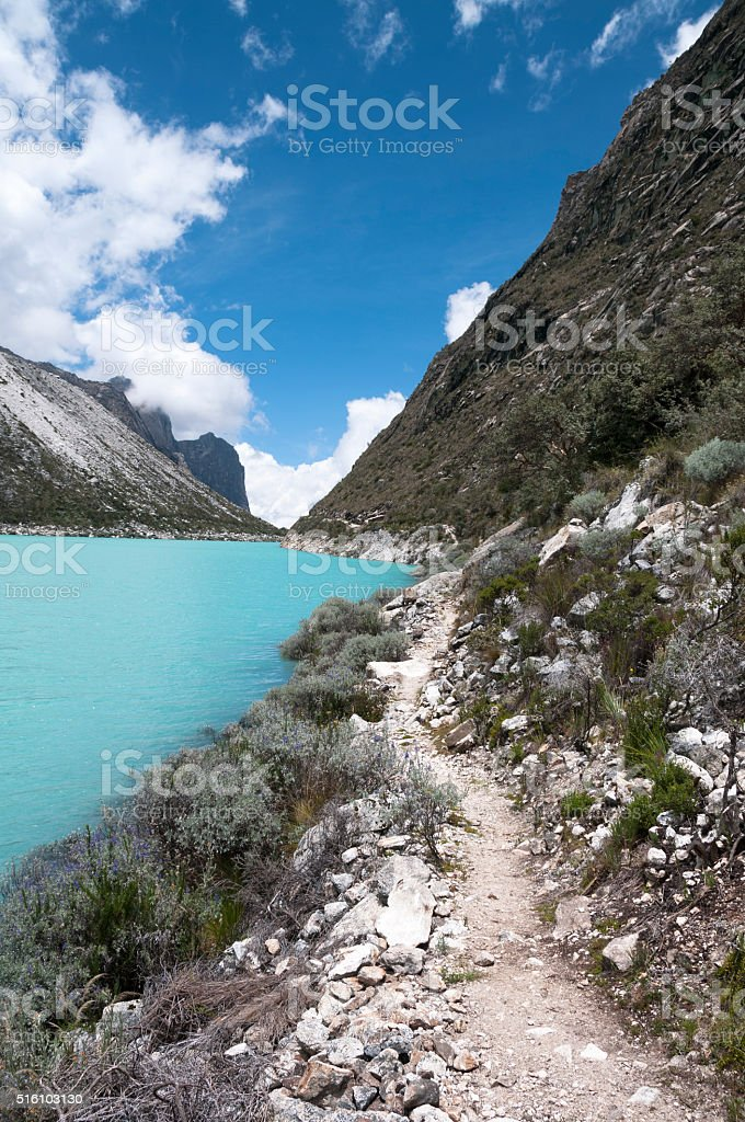 Lake Paron In The Peruvian Andes stock photo