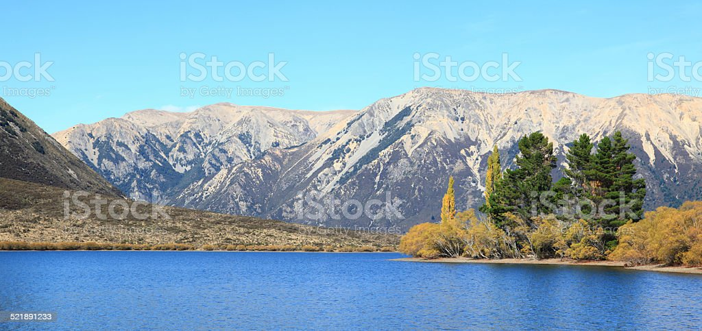 Lake Pearson New Zealand stock photo
