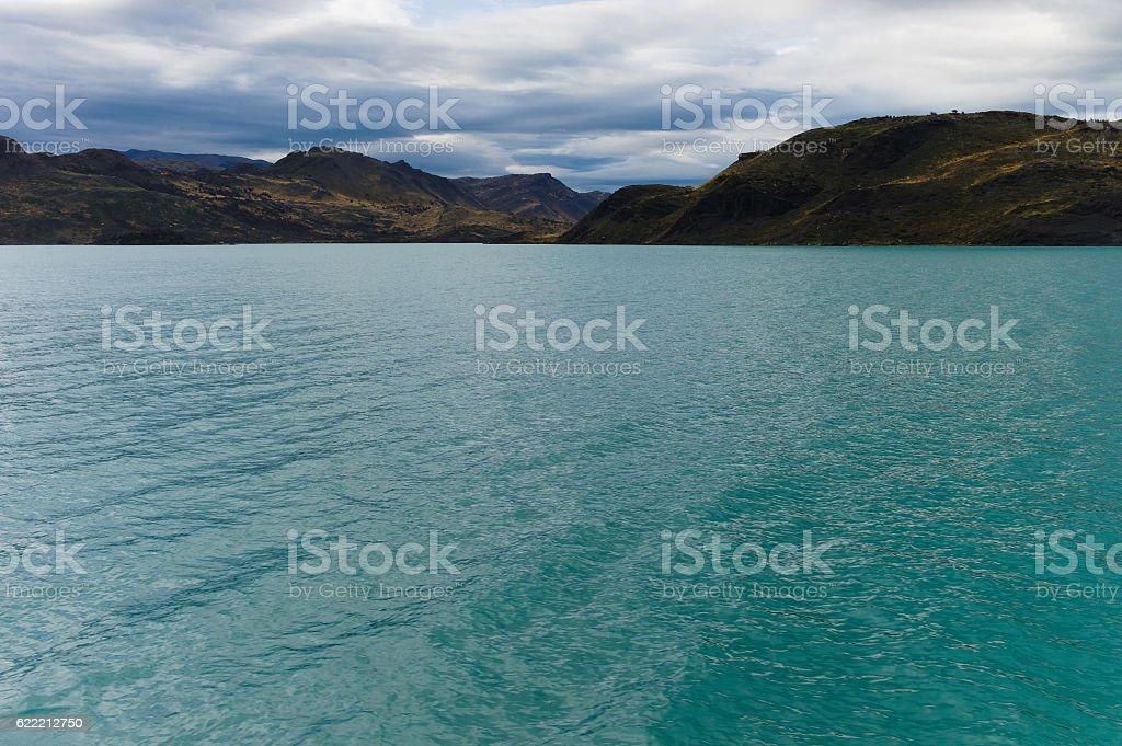 Lake Pehoé in Patagonia stock photo