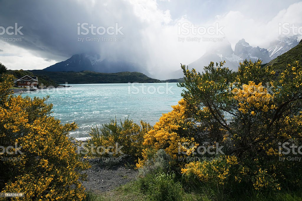 Lake Pehoe, Torres del Paine, Chile stock photo