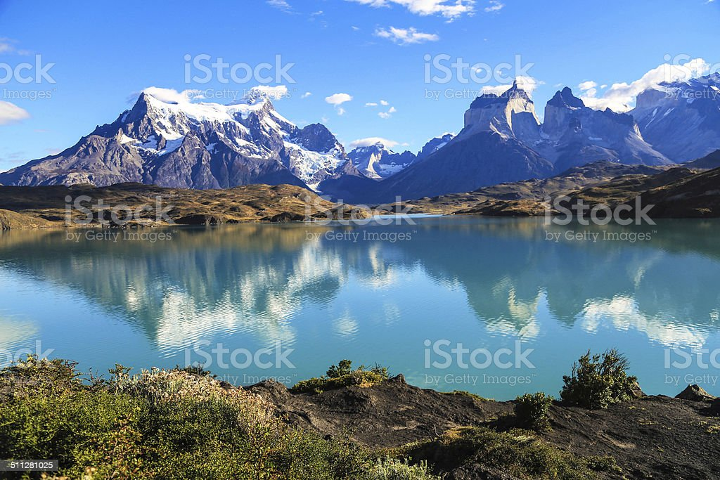 Lake Pehoe, Torres Del Paine, Patagonia, Chile stock photo