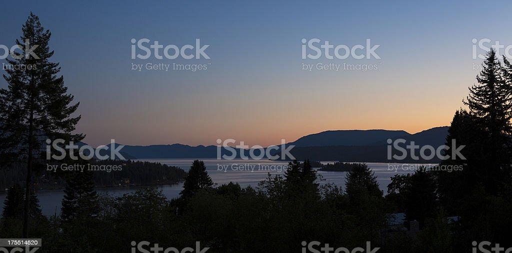 Lake Pend Oreille at dawn, East Hope, Idaho stock photo
