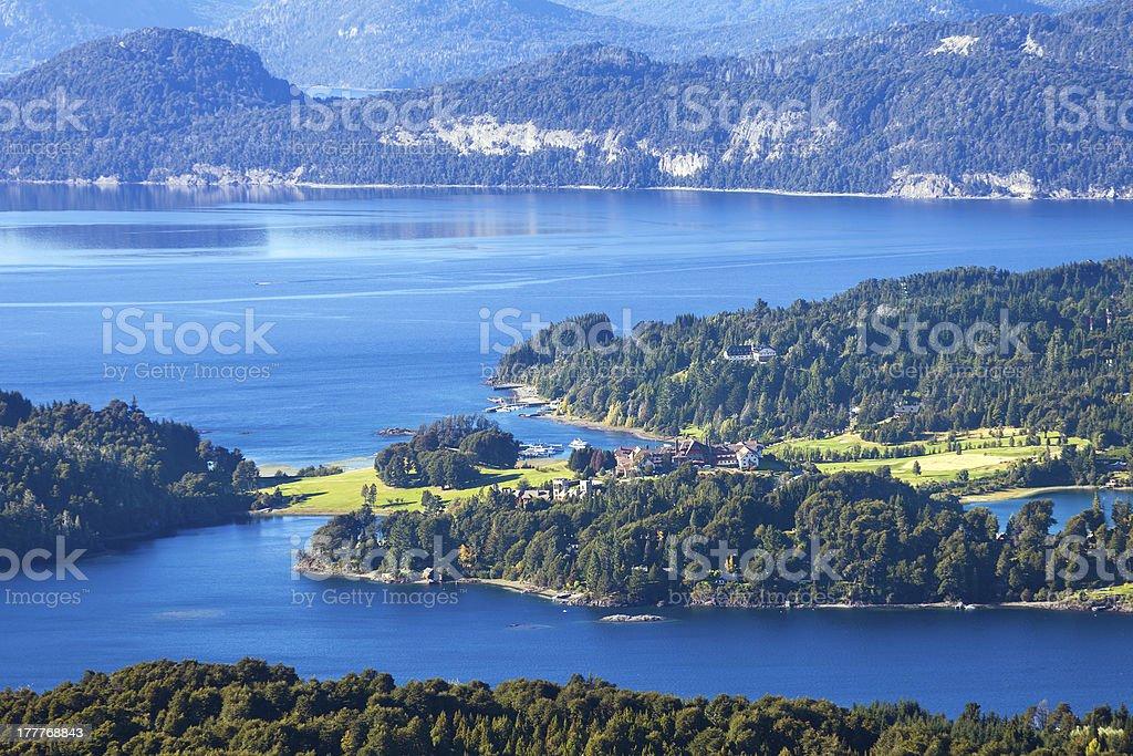 Lake Perito Moreno and villa Llao-Llao, Bariloche, Patagonia, Argentina royalty-free stock photo