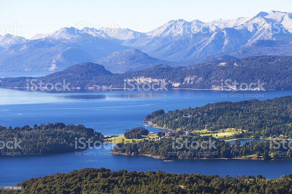 Lake Perito Moreno and villa Llao-Llao, Bariloche, Patagonia, Argentina royalty-free stock photo