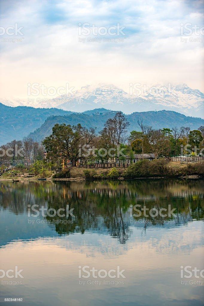 Lake Phewa in Pokhara, Nepal, stock photo