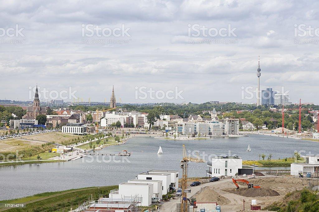lake phoenix and Dortmund cityscape stock photo