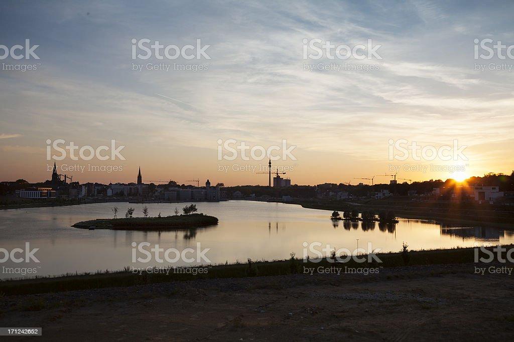 lake Phoenix Dortmund skyline stock photo