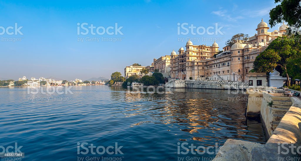 Lake Pichola and City Palace in Udaipur. India. stock photo