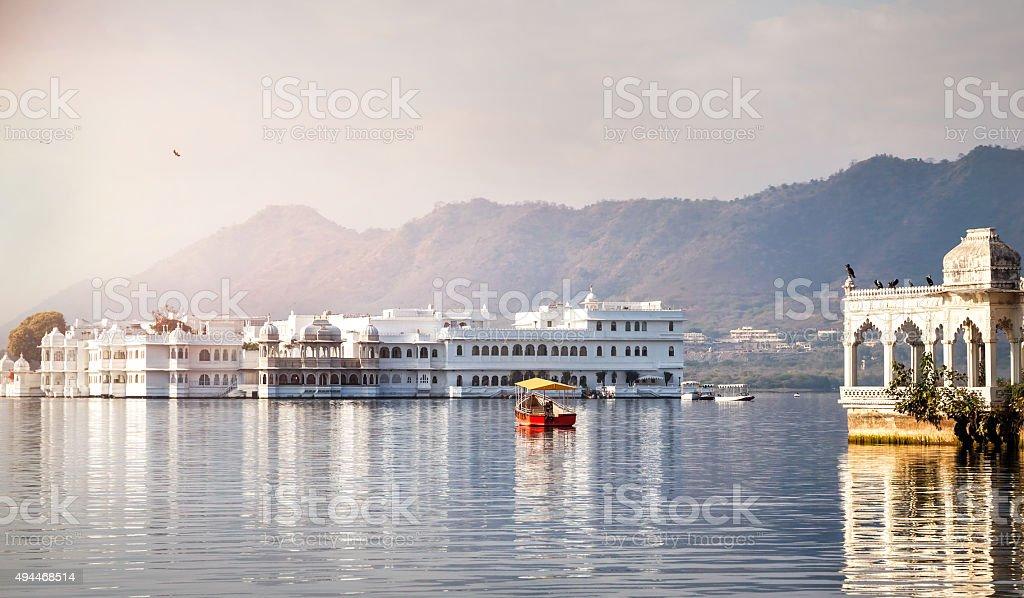 Lake Pichola hotel palace stock photo