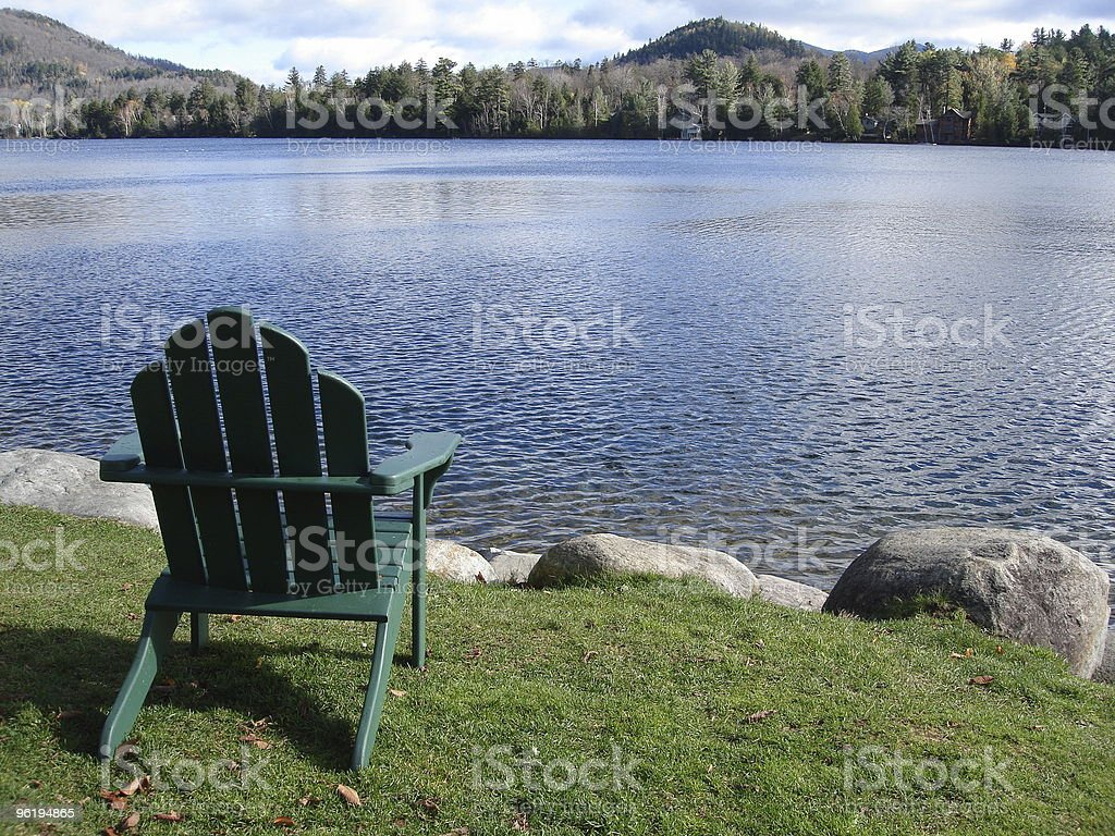Lake Placid Adirondack Chair stock photo