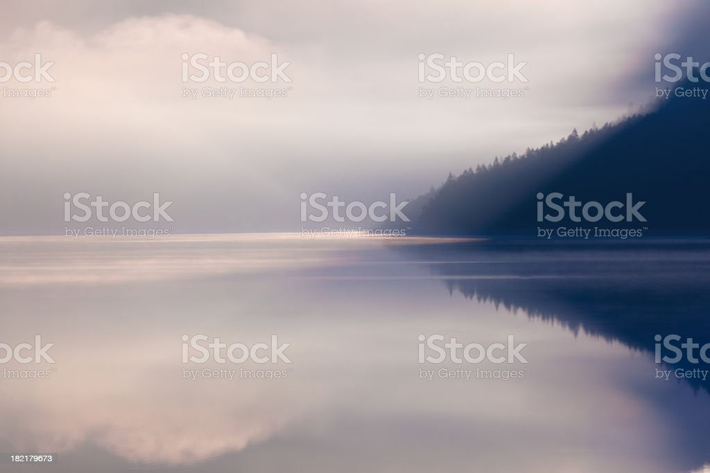 lake plansee in the morning stock photo
