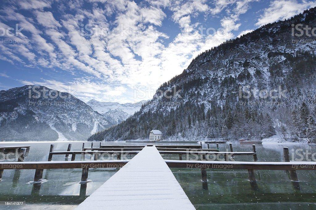 lake plansee in winter- tirol -austria stock photo