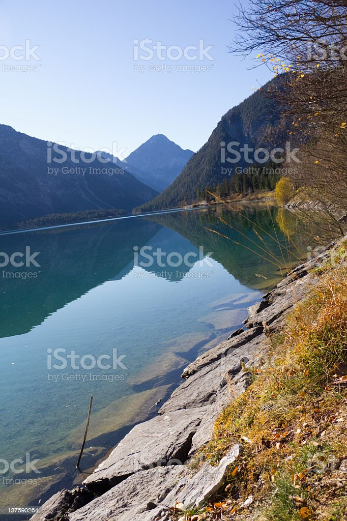 Lake Plansee Tyrolean lands in Austria stock photo
