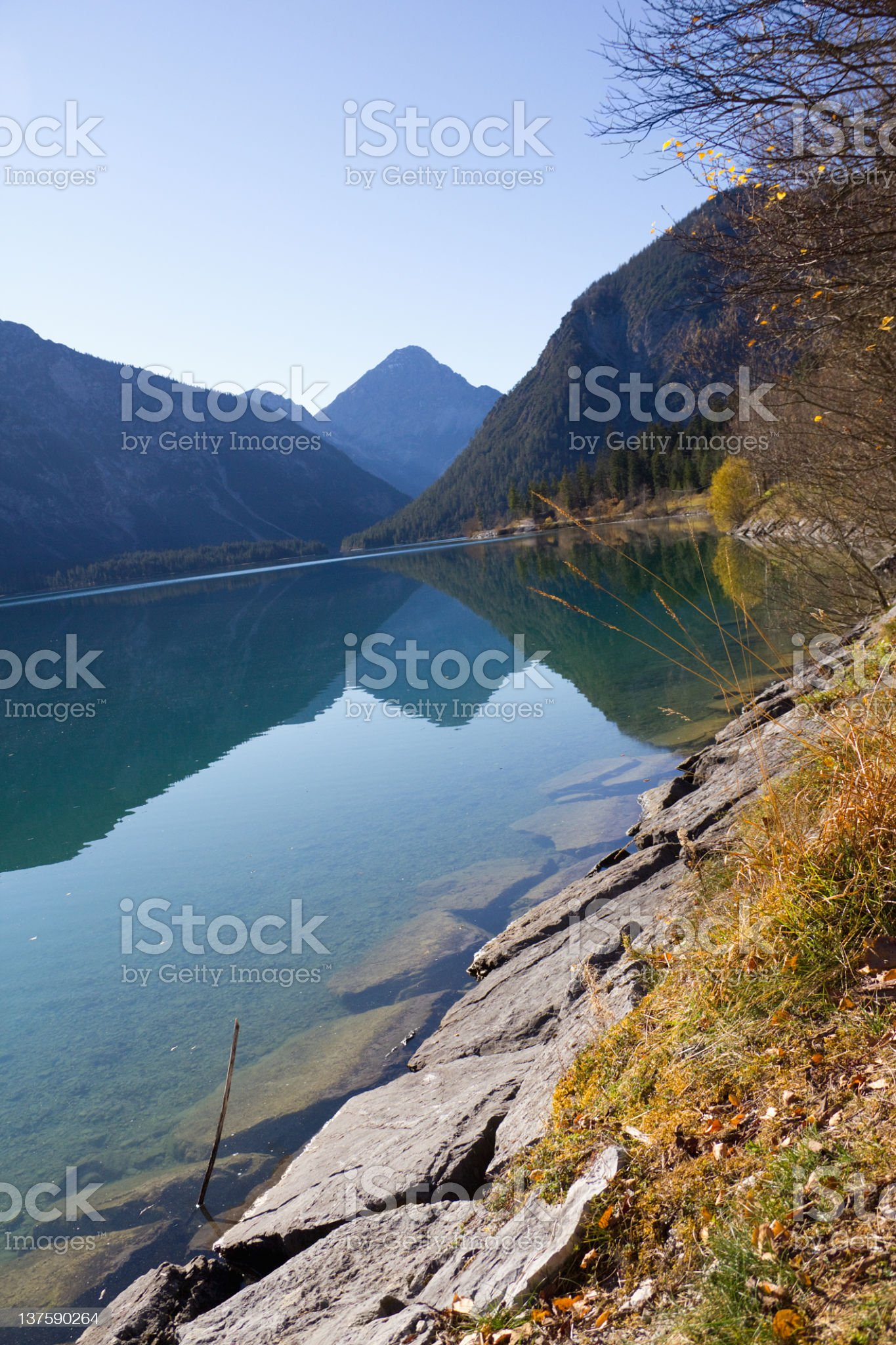 Lake Plansee Tyrolean lands in Austria royalty-free stock photo