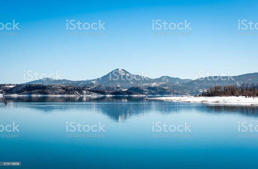 Lake Plastira on winter stock photo