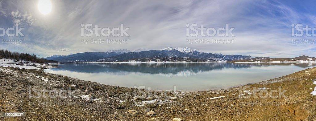 Lake Plastiras panorama, Thessaly, Greece stock photo