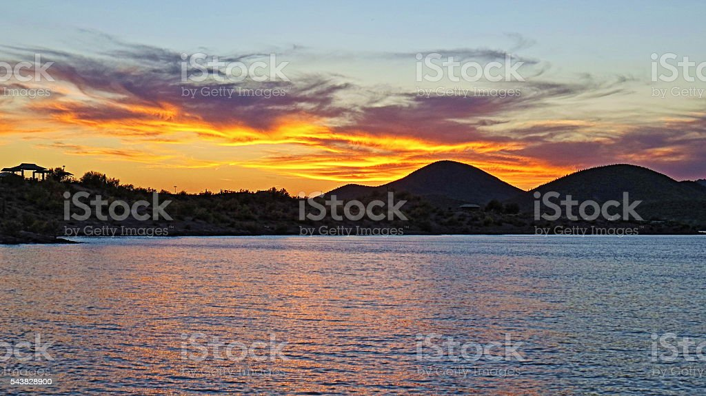 Lake Pleasant Sunset stock photo
