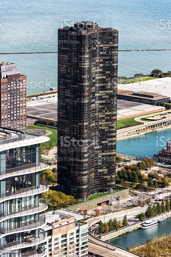 Lake Pont Tower, Chicago, viewed from above stock photo