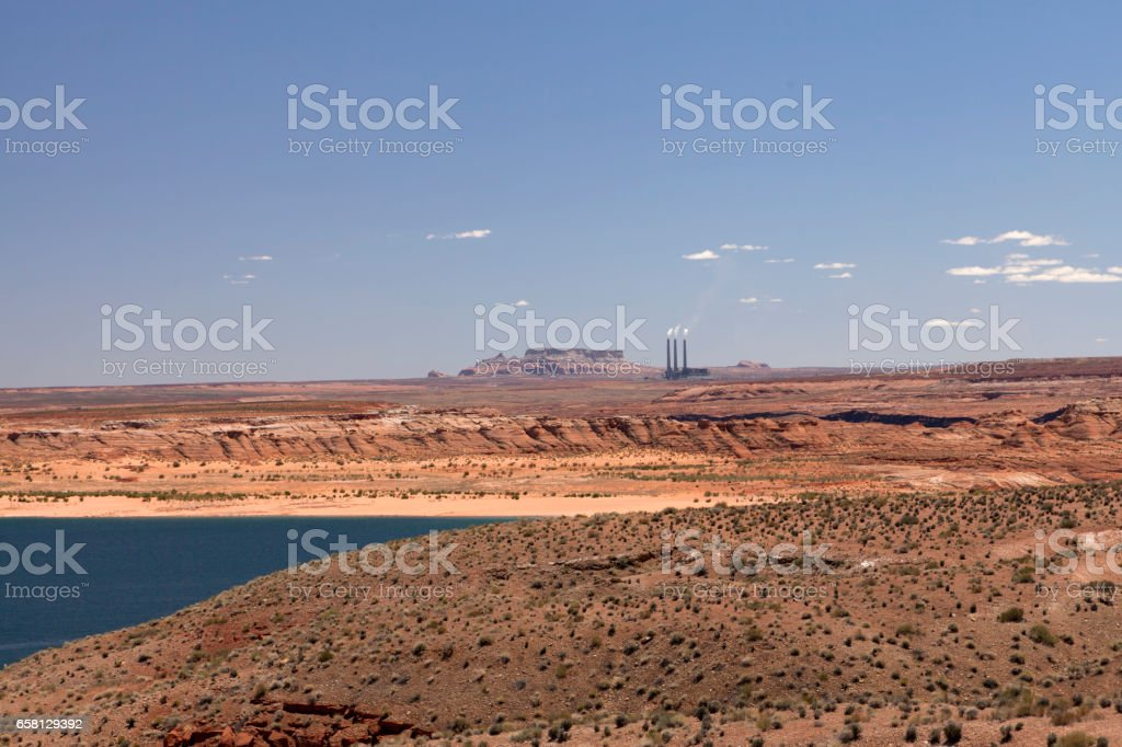 Lake Powell and the smoking pipes stock photo
