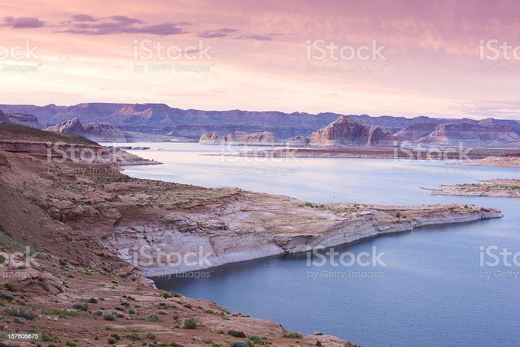 Lake Powell at dusk stock photo
