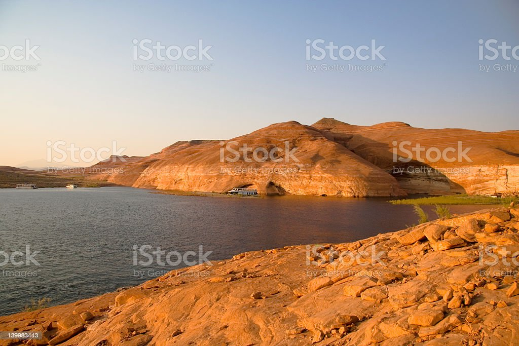 Lake Powell Orange Rocks and Hills royalty-free stock photo