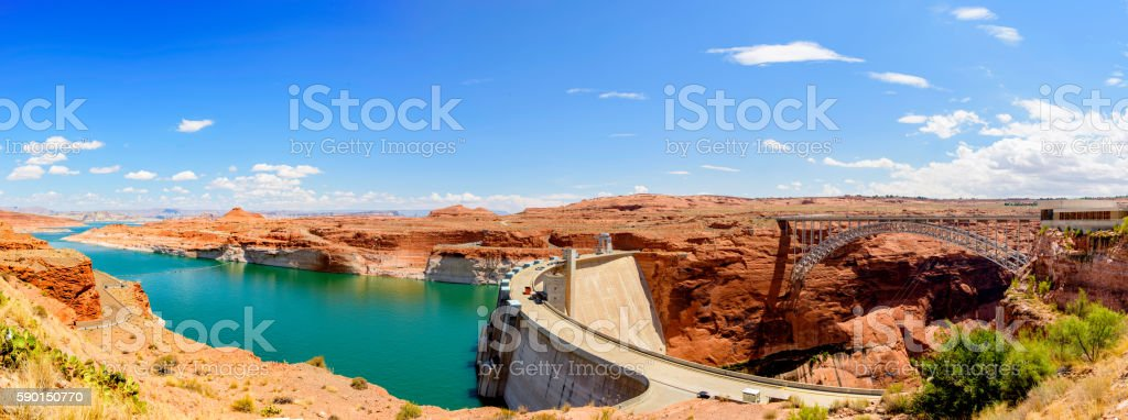 Lake Powell Panorama stock photo