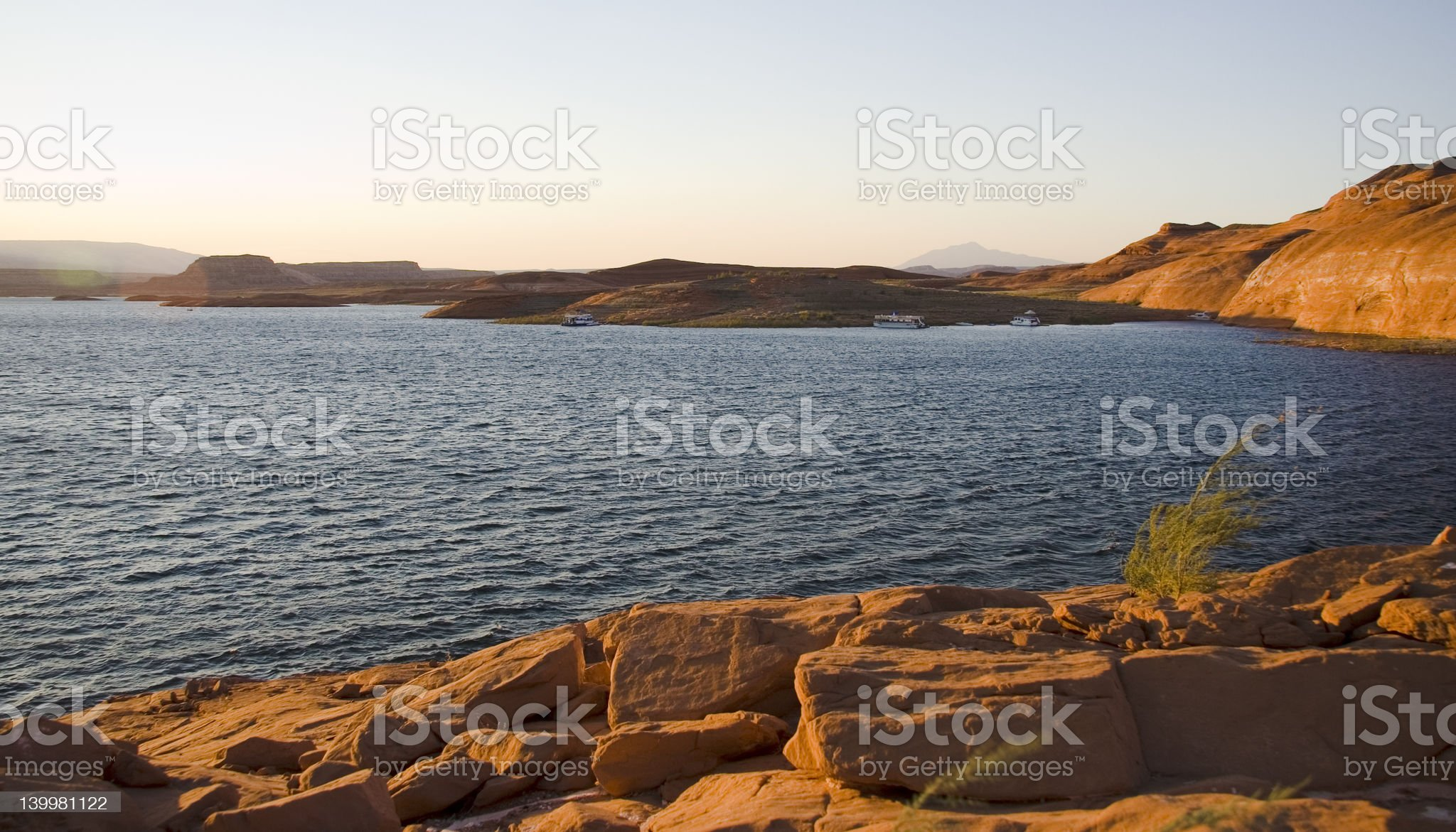 Lake Powell Rocks and Water Sunset royalty-free stock photo