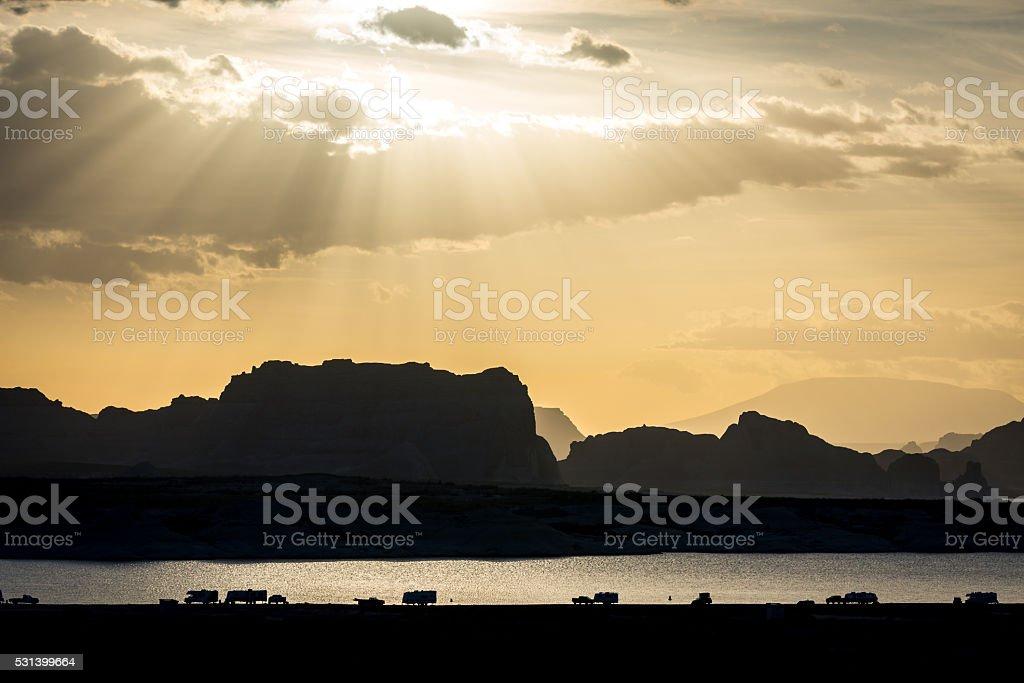 Lake Powell silhouette sunset stock photo