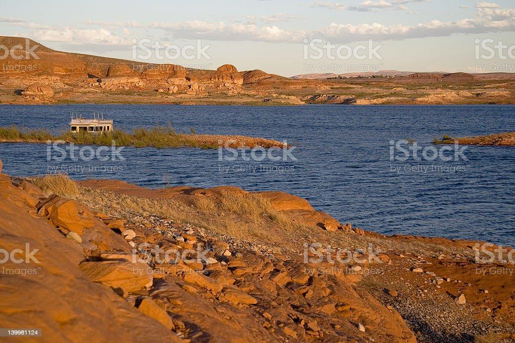 Lake Powell Sunset on Rocks royalty-free stock photo
