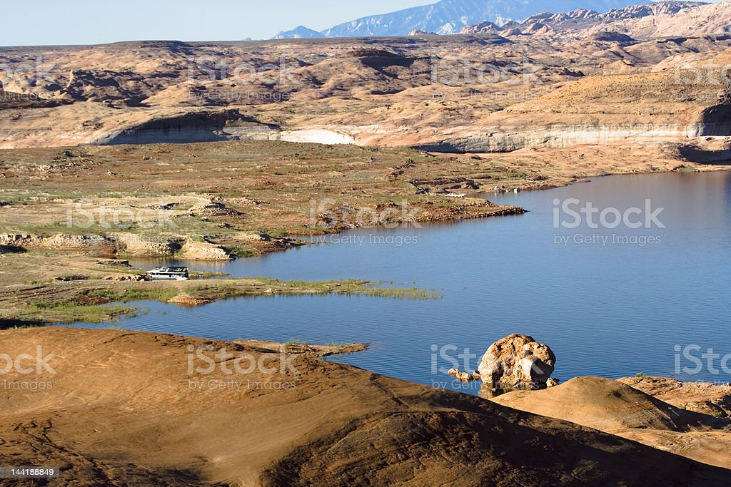Lake Powell Water and Desert royalty-free stock photo