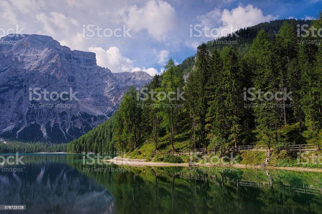 Lake Prags in Alps stock photo