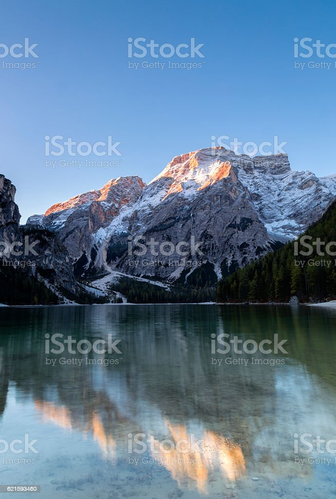 Lake Prags, South Tyrol stock photo