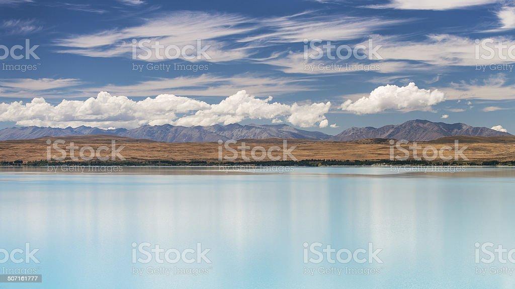 Lake Pukaki Reflection stock photo