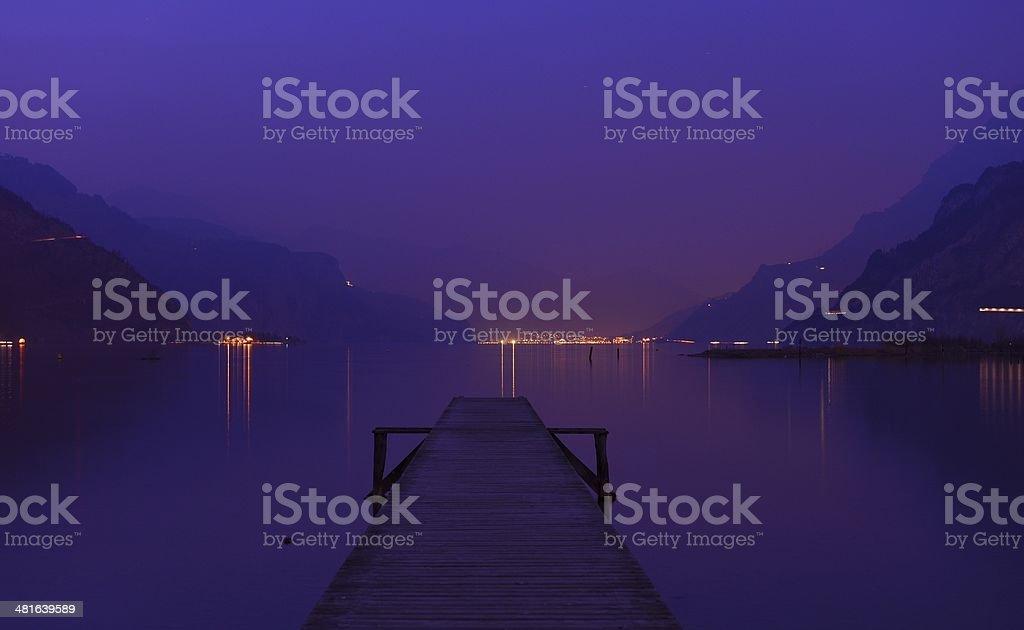 Lake. Purple night. stock photo