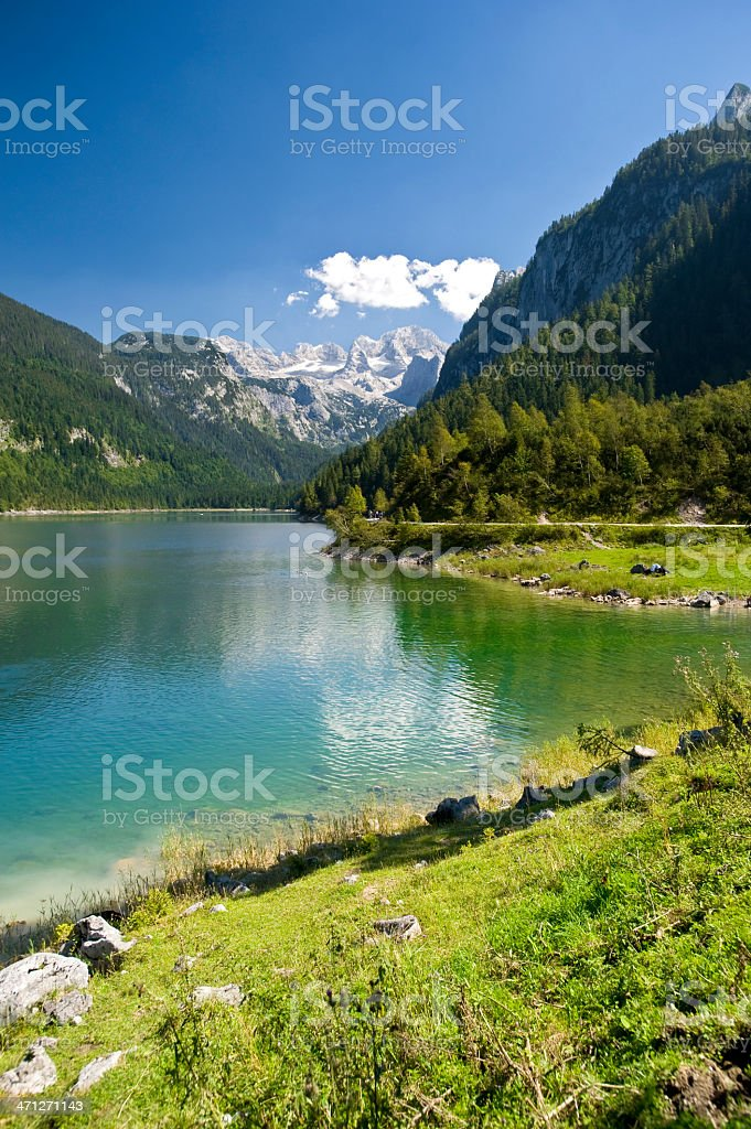 """Lake """"Gosausee""""  with Mt. Dachstein and Glaciers in summer royalty-free stock photo"""
