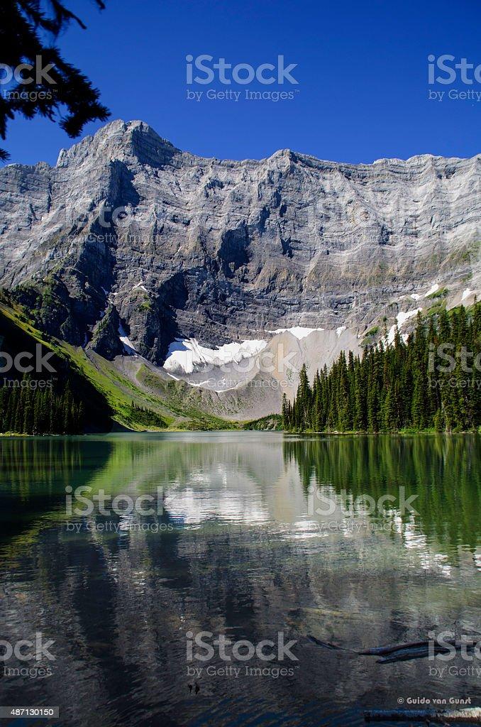 Lake Rawson reflection of mountain stock photo