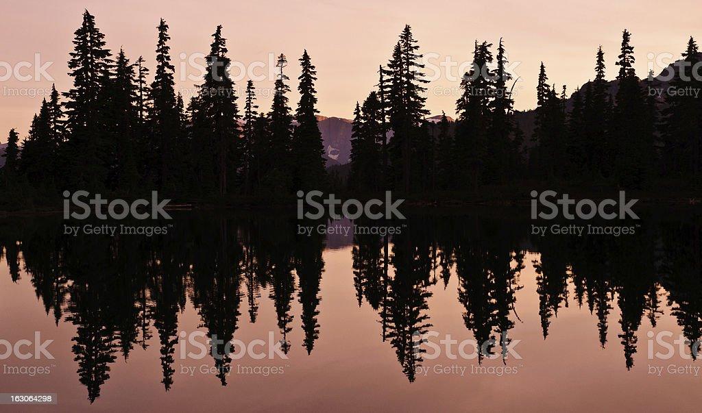Lake reflection at sunset royalty-free stock photo