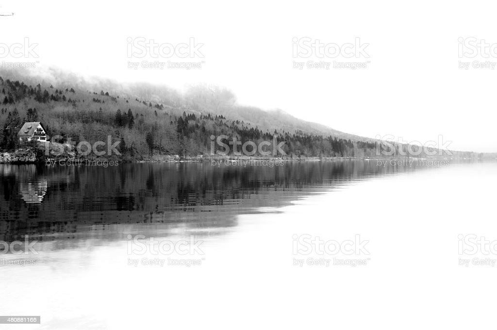 Lake reflection panorama during winter stock photo