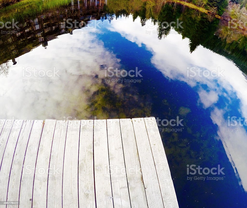 Lake reflection with boardwalk royalty-free stock photo