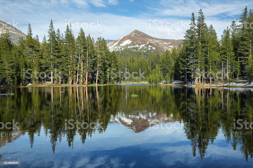 Lake reflections in Tioga Pass, Yosemite stock photo