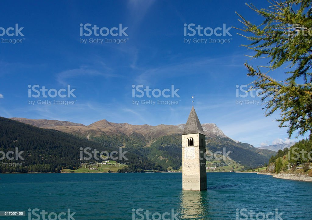 Lake Reschensee in Italy stock photo