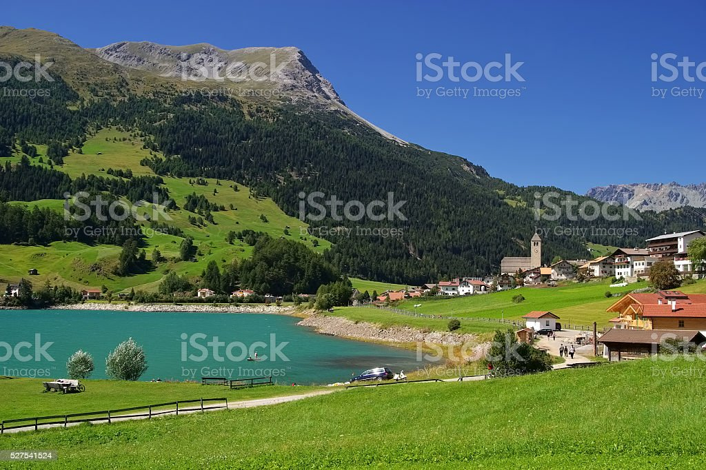 lake Reschensee in South Tyrol stock photo