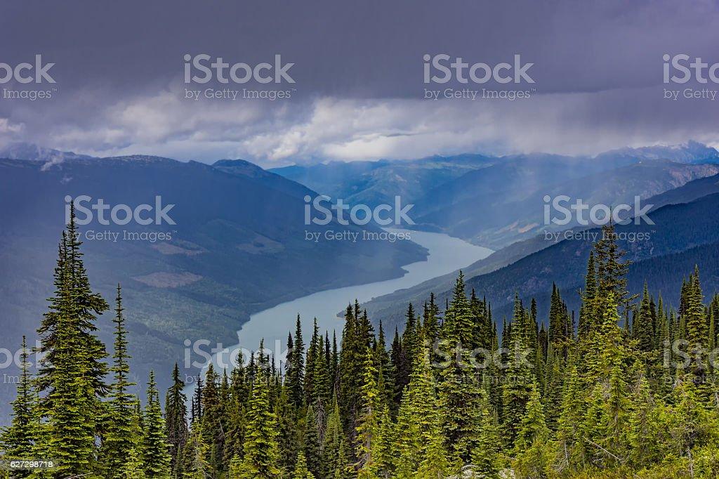 Lake Revelstoke from Mount Revelstoke British Columbia Canada stock photo
