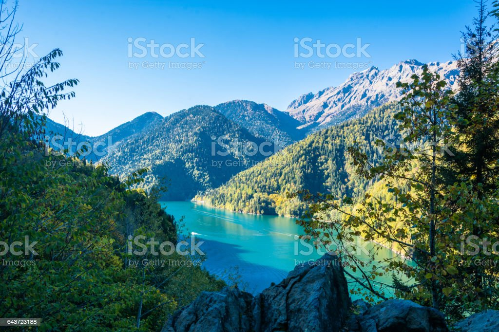 Lake Ritsa, Abkhazia. stock photo
